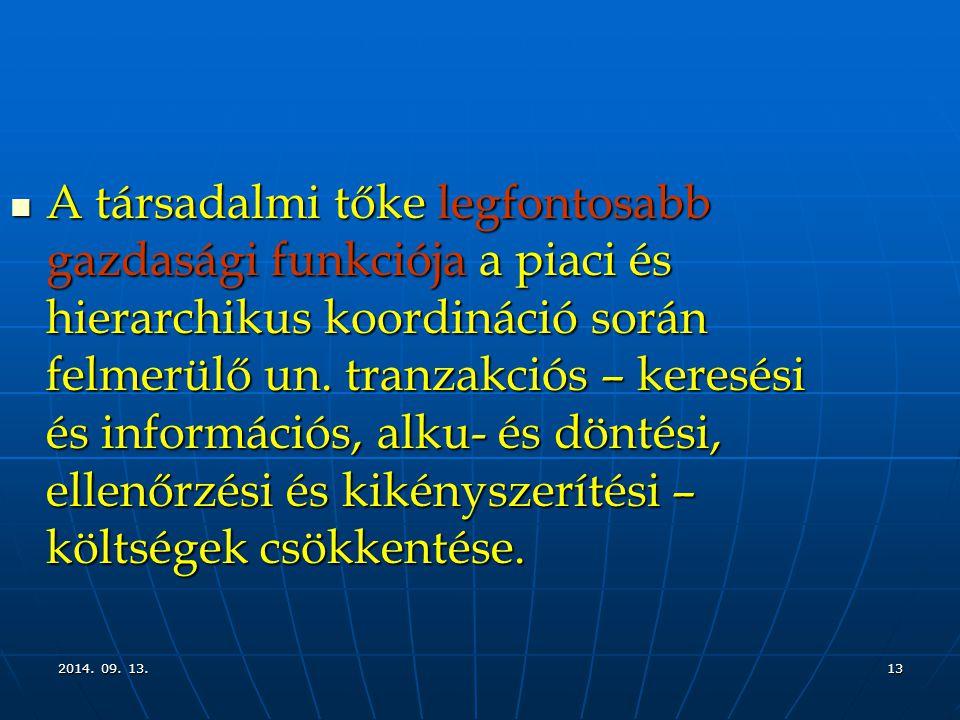 2014. 09. 13.2014. 09. 13.2014. 09. 13.13 A társadalmi tőke legfontosabb gazdasági funkciója a piaci és hierarchikus koordináció során felmerülő un. t