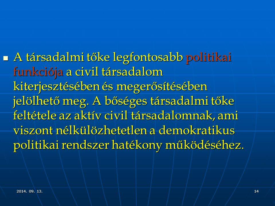 2014. 09. 13.2014. 09. 13.2014. 09. 13.14 A társadalmi tőke legfontosabb politikai funkciója a civil társadalom kiterjesztésében és megerősítésében je