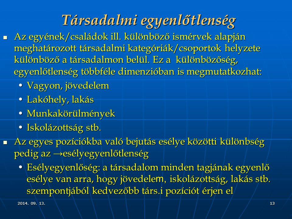 2014. 09. 13.2014. 09. 13.2014. 09. 13.13 Társadalmi egyenlőtlenség Az egyének/családok ill.