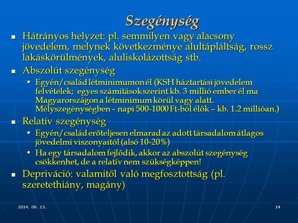 2014. 09. 13.2014. 09. 13.2014. 09. 13.14 Szegénység Hátrányos helyzet: pl.