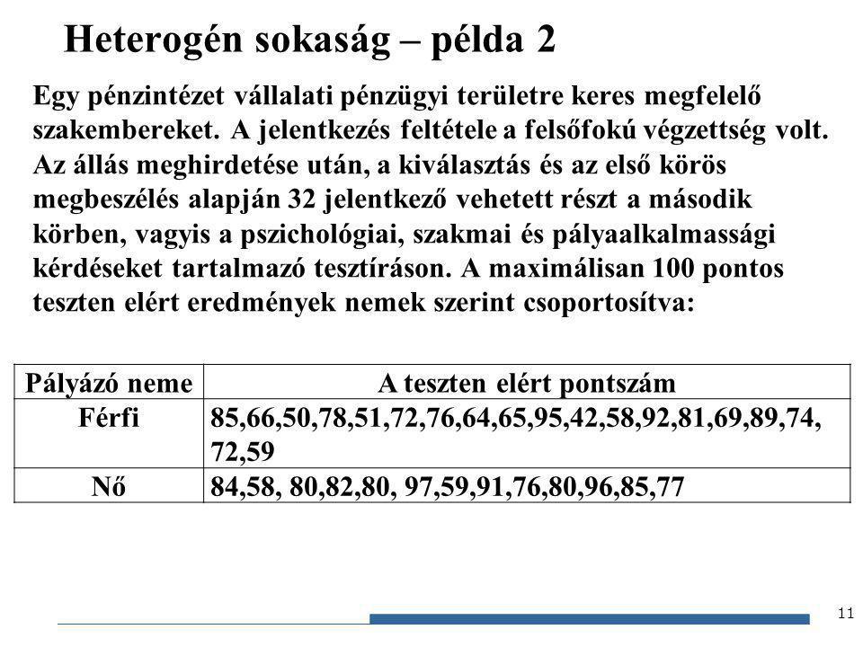 Gazdaságstatisztika, 2012 Heterogén sokaság – példa 2 Egy pénzintézet vállalati pénzügyi területre keres megfelelő szakembereket. A jelentkezés feltét