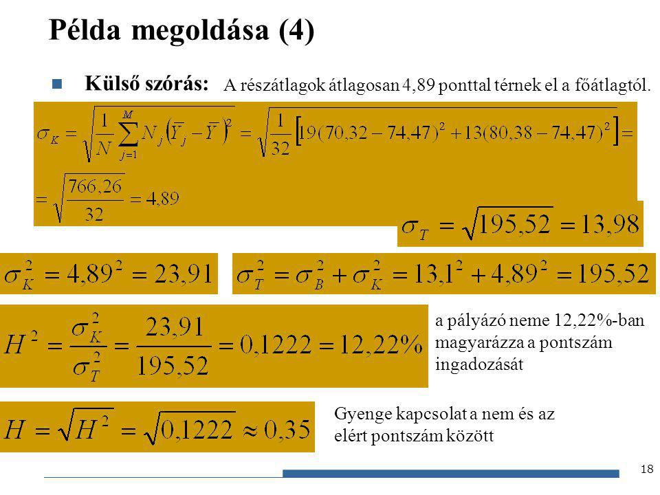 Gazdaságstatisztika, 2012 Példa megoldása (4) Külső szórás: 18 A részátlagok átlagosan 4,89 ponttal térnek el a főátlagtól. a pályázó neme 12,22%-ban