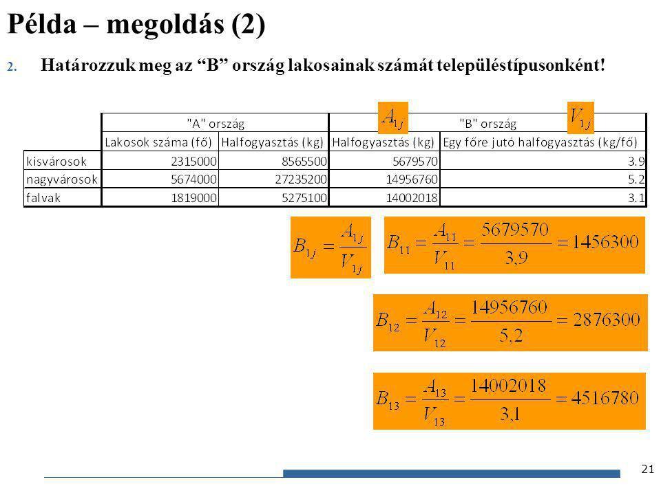 """Gazdaságstatisztika, 2012 2. Határozzuk meg az """"B"""" ország lakosainak számát településtípusonként! Példa – megoldás (2) 21"""