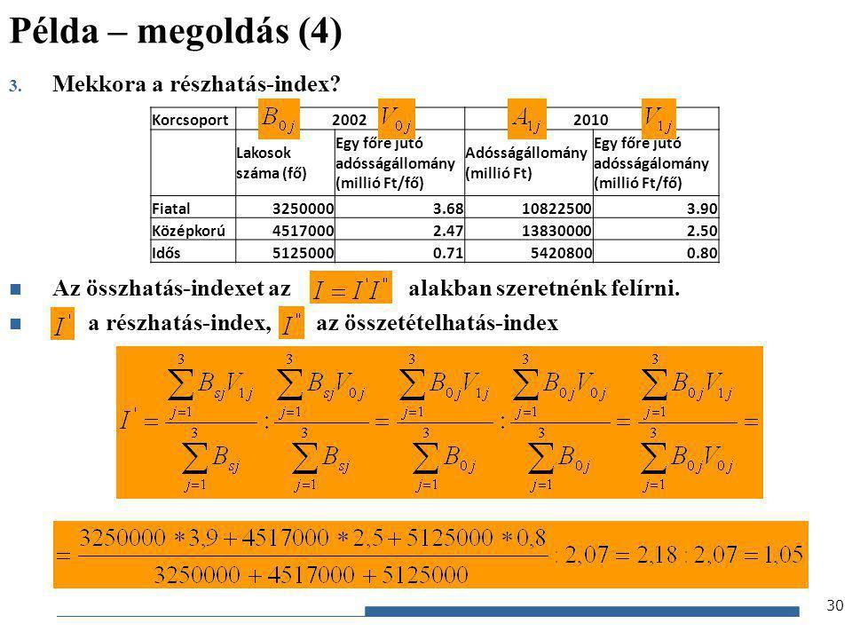 Gazdaságstatisztika, 2012 3. Mekkora a részhatás-index? Az összhatás-indexet az alakban szeretnénk felírni. a részhatás-index, az összetételhatás-inde