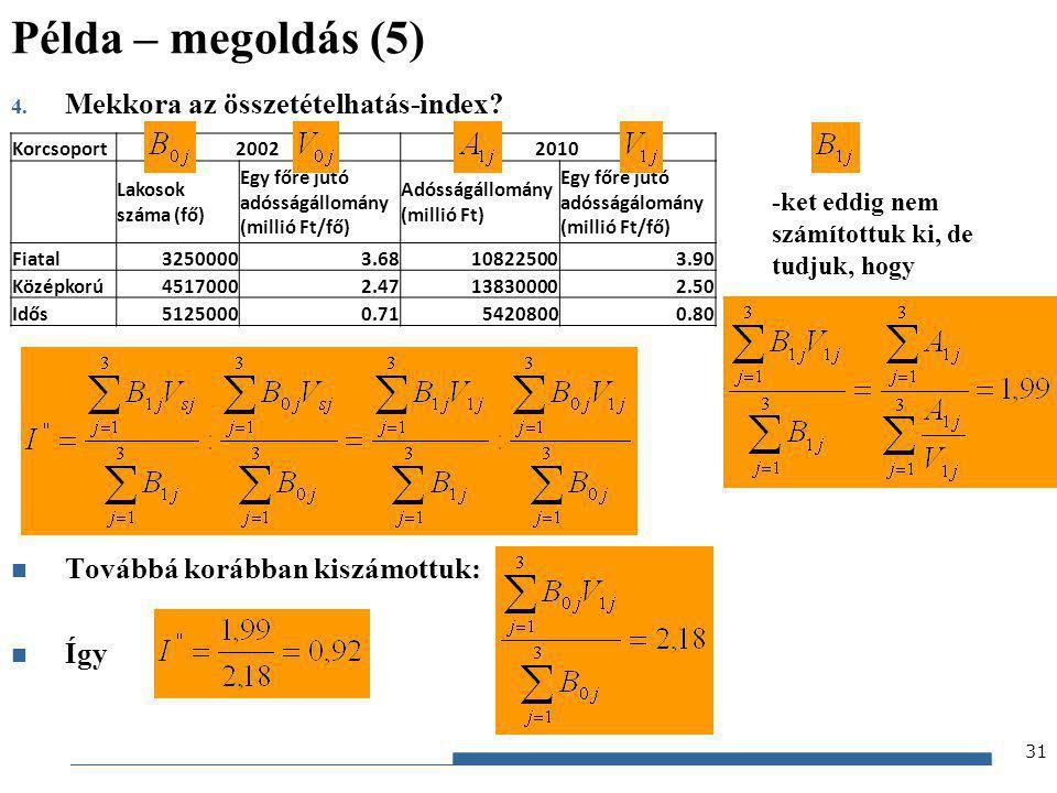 Gazdaságstatisztika, 2012 4. Mekkora az összetételhatás-index? Továbbá korábban kiszámottuk: Így Korcsoport20022010 Lakosok száma (fő) Egy főre jutó a