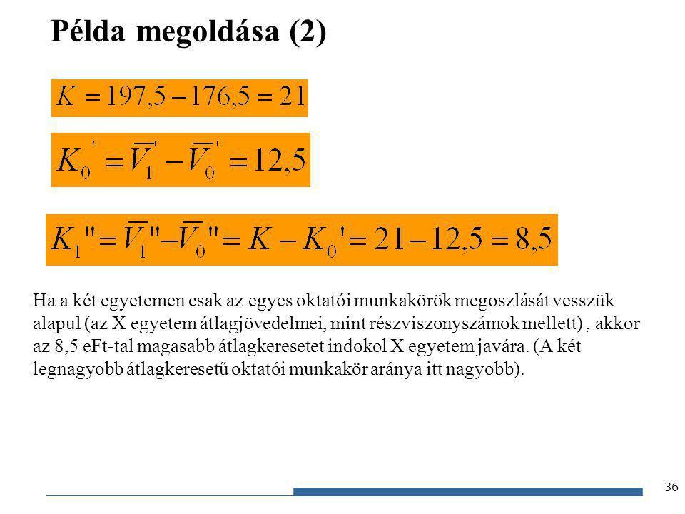 Gazdaságstatisztika, 2012 Példa megoldása (2) 36 Ha a két egyetemen csak az egyes oktatói munkakörök megoszlását vesszük alapul (az X egyetem átlagjöv