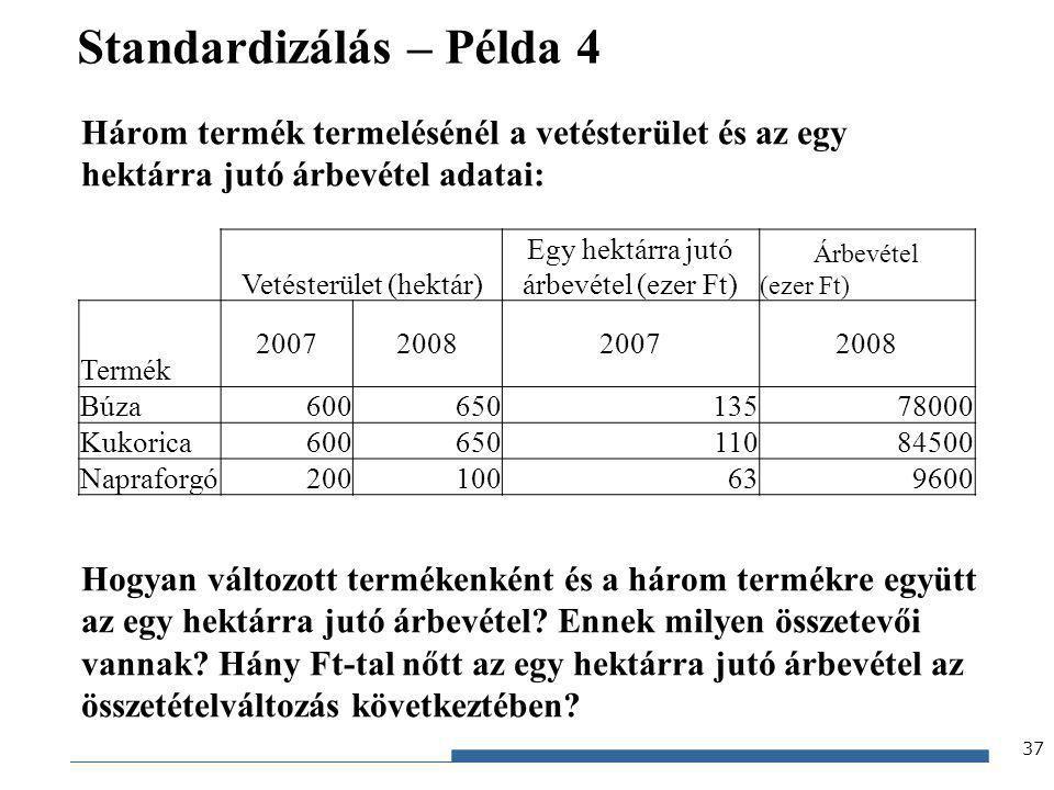 Gazdaságstatisztika, 2012 Standardizálás – Példa 4 Három termék termelésénél a vetésterület és az egy hektárra jutó árbevétel adatai: Hogyan változott