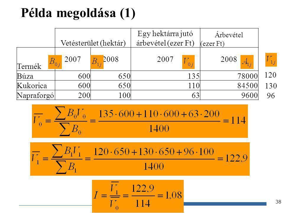 Gazdaságstatisztika, 2012 Példa megoldása (1) 38 Vetésterület (hektár) Egy hektárra jutó árbevétel (ezer Ft) Árbevétel (ezer Ft) Termék 20072008200720