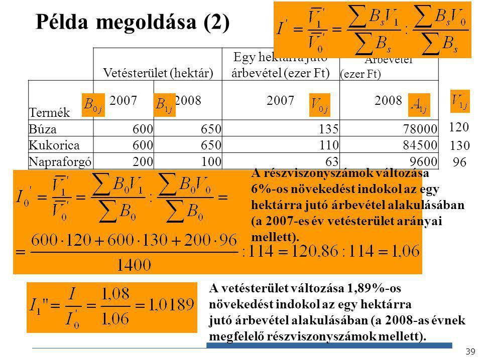 Gazdaságstatisztika, 2012 Példa megoldása (2) 39 Vetésterület (hektár) Egy hektárra jutó árbevétel (ezer Ft) Árbevétel (ezer Ft) Termék 20072008200720