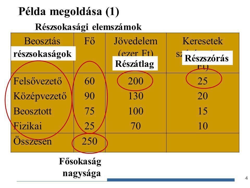 Gazdaságstatisztika, 2012 Példa megoldása (1) 4 BeosztásFőJövedelem (ezer Ft) Keresetek szórása (ezer Ft) Felsővezető Középvezető Beosztott Fizikai 60