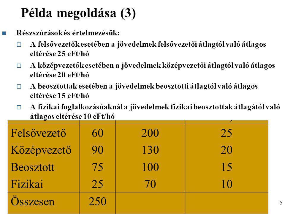 Gazdaságstatisztika, 2012 Példa megoldása (3) 6 BeosztásFőJövedelem (ezer Ft) Keresetek szórása (ezer Ft) Felsővezető Középvezető Beosztott Fizikai 60