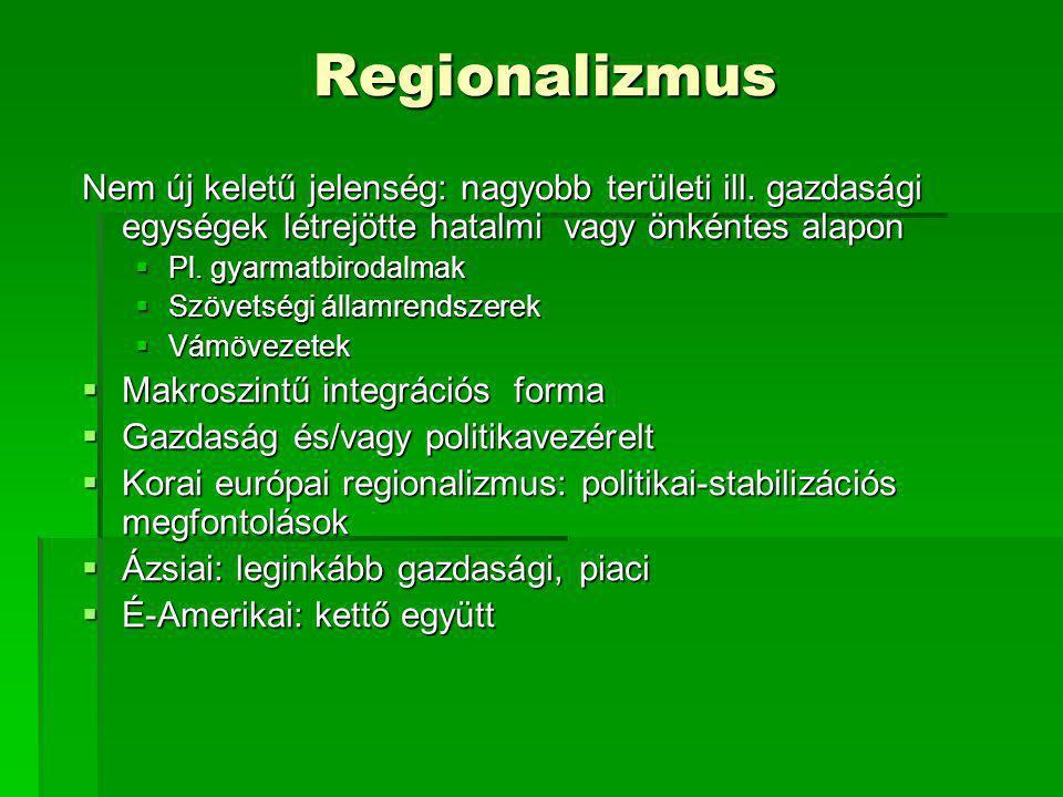 Regionalizmus Nem új keletű jelenség: nagyobb területi ill. gazdasági egységek létrejötte hatalmi vagy önkéntes alapon  Pl. gyarmatbirodalmak  Szöve