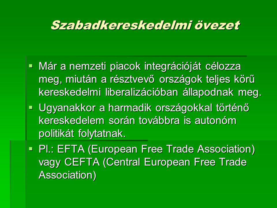 Szabadkereskedelmi övezet  Már a nemzeti piacok integrációját célozza meg, miután a résztvevő országok teljes körű kereskedelmi liberalizációban álla