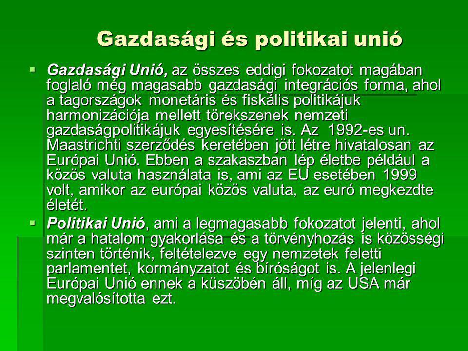 Gazdasági és politikai unió  Gazdasági Unió, az összes eddigi fokozatot magában foglaló még magasabb gazdasági integrációs forma, ahol a tagországok