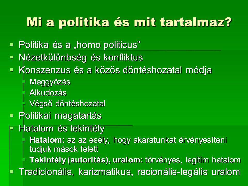 """Mi a politika és mit tartalmaz?  Politika és a """"homo politicus""""  Nézetkülönbség és konfliktus  Konszenzus és a közös döntéshozatal módja  Meggyőzé"""