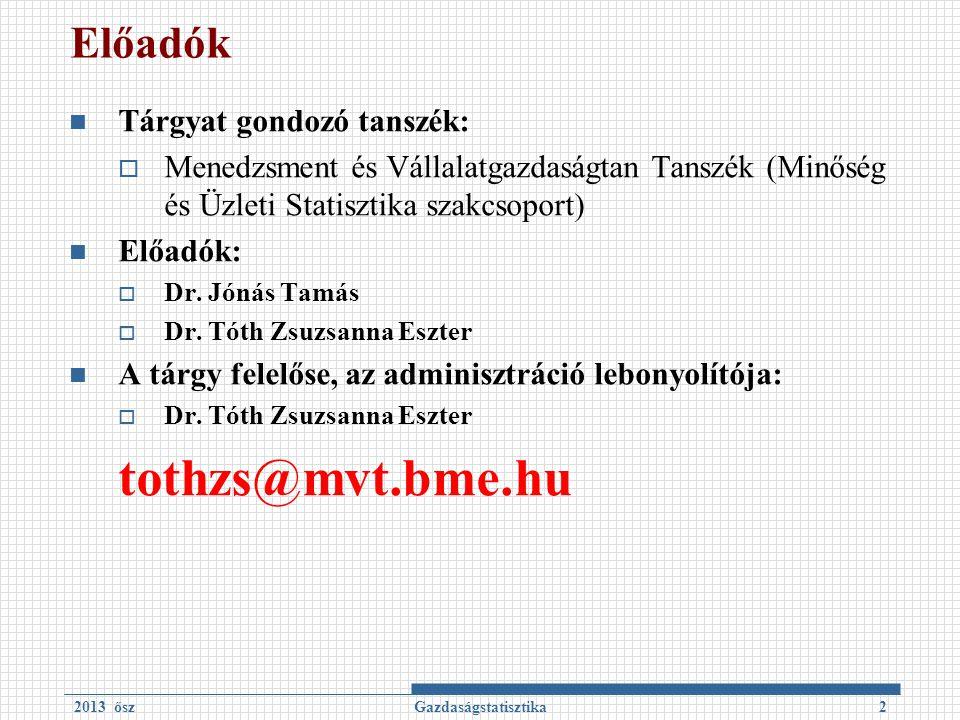 Előadók Tárgyat gondozó tanszék:  Menedzsment és Vállalatgazdaságtan Tanszék (Minőség és Üzleti Statisztika szakcsoport) Előadók:  Dr.