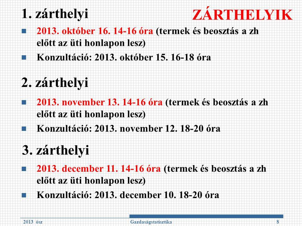 1. zárthelyi 2013. október 16. 14-16 óra (termek és beosztás a zh előtt az üti honlapon lesz) Konzultáció: 2013. október 15. 16-18 óra 2013 őszGazdasá