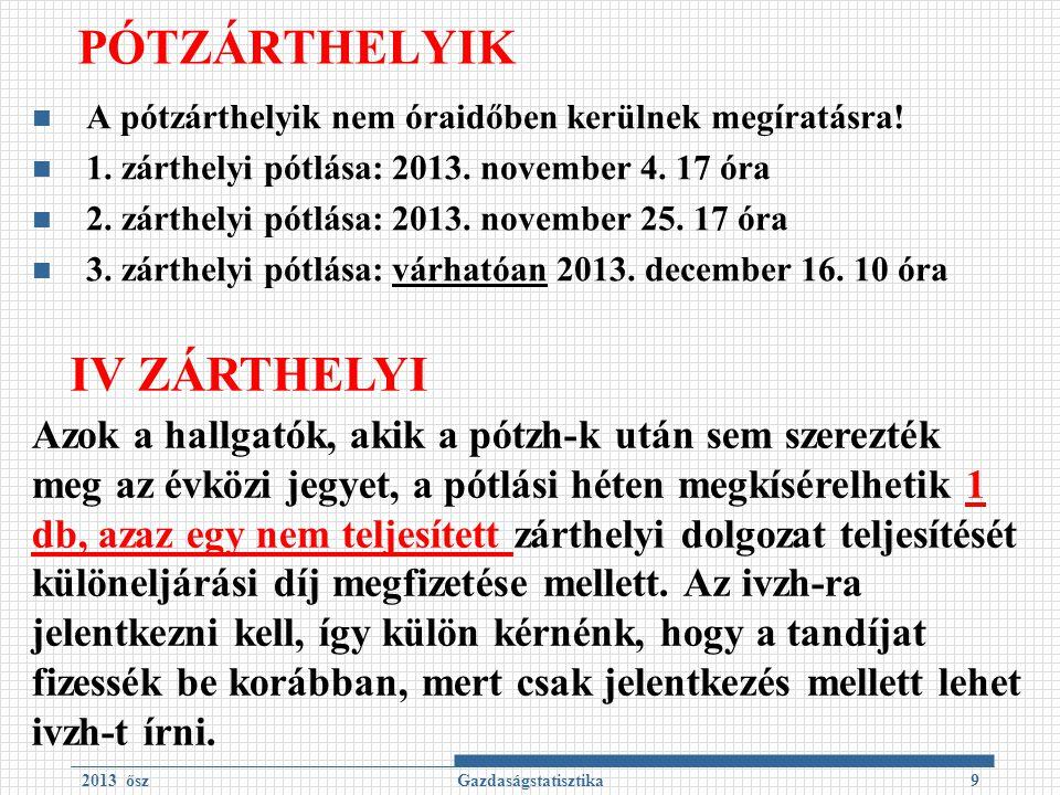PÓTZÁRTHELYIK A pótzárthelyik nem óraidőben kerülnek megíratásra! 1. zárthelyi pótlása: 2013. november 4. 17 óra 2. zárthelyi pótlása: 2013. november
