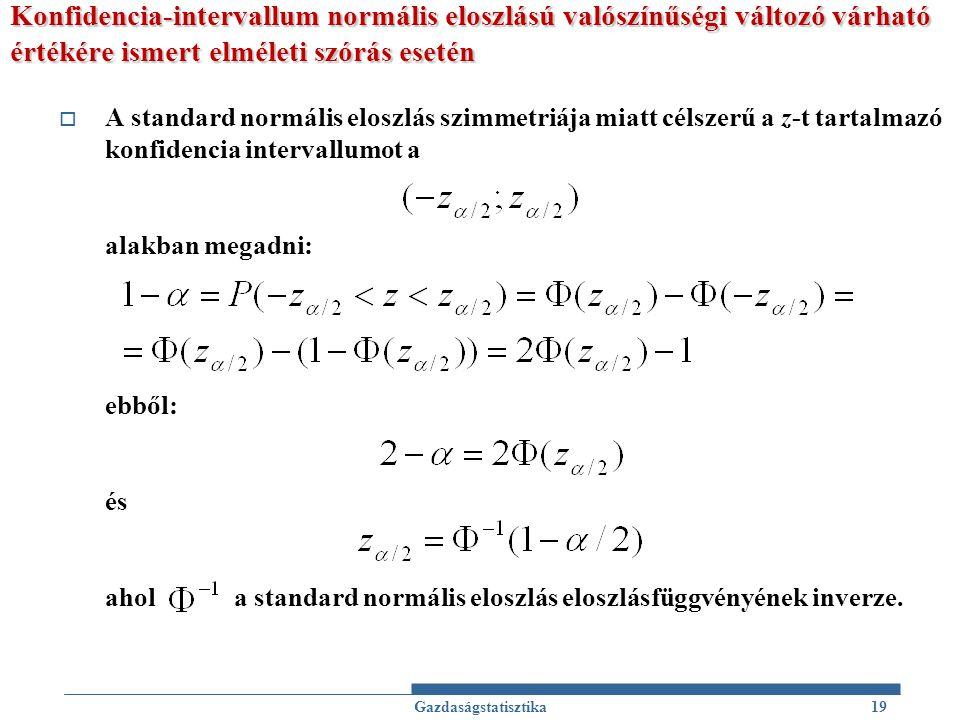 Konfidencia-intervallum normális eloszlású valószínűségi változó várható értékére ismert elméleti szórás esetén  A standard normális eloszlás szimmet