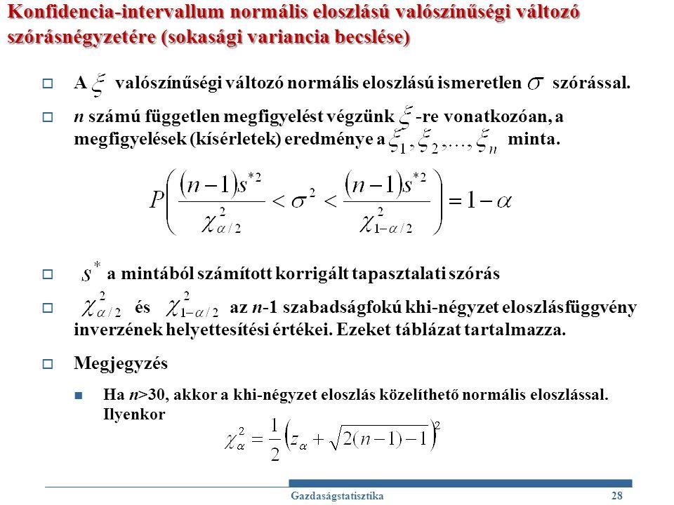Konfidencia-intervallum normális eloszlású valószínűségi változó szórásnégyzetére (sokasági variancia becslése)  A valószínűségi változó normális elo