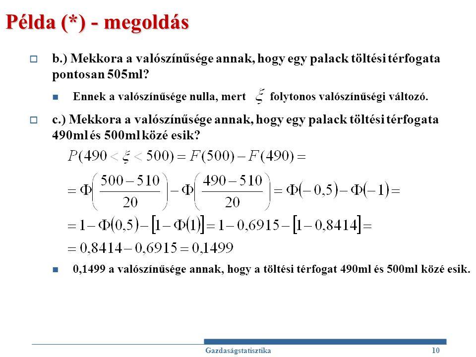 Példa (*) - megoldás  b.) Mekkora a valószínűsége annak, hogy egy palack töltési térfogata pontosan 505ml? Ennek a valószínűsége nulla, mert folytono