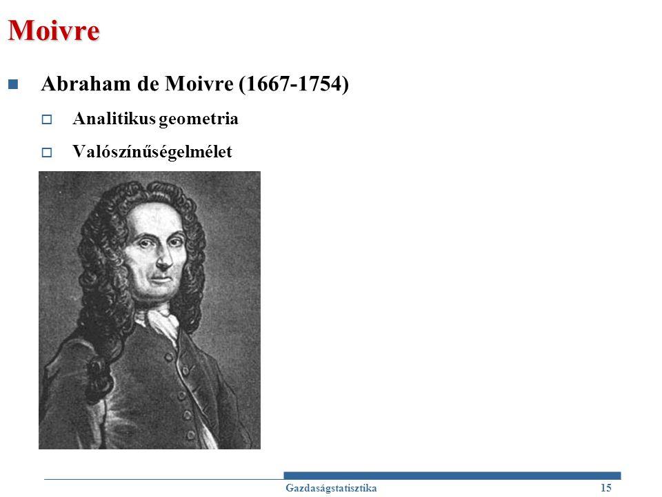 Moivre Abraham de Moivre (1667-1754)  Analitikus geometria  Valószínűségelmélet Gazdaságstatisztika15