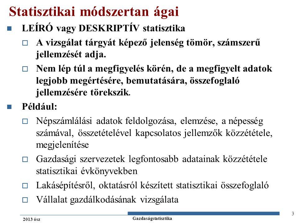 Gazdaságstatisztika 2013 ősz KÖVETKEZTETŐ statisztika  Fő célja a mintából való következtetés, általánosítás a teljes sokaságra vonatkozóan.