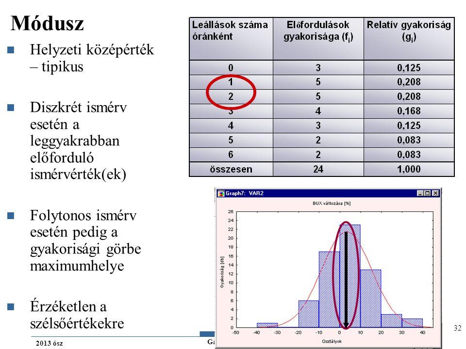 Gazdaságstatisztika 2013 ősz Módusz Helyzeti középérték – tipikus Diszkrét ismérv esetén a leggyakrabban előforduló ismérvérték(ek) Folytonos ismérv esetén pedig a gyakorisági görbe maximumhelye Érzéketlen a szélsőértékekre 32