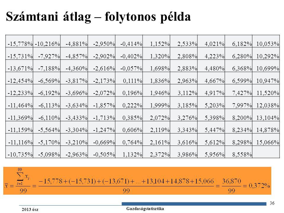Gazdaságstatisztika 2013 ősz 36 Számtani átlag – folytonos példa -15,778%-10,216%-4,881%-2,950%-0,414%1,152%2,533%4,021%6,182%10,053% -15,731%-7,927%-4,857%-2,902%-0,402%1,320%2,808%4,223%6,280%10,292% -13,671%-7,188%-4,360%-2,616%-0,057%1,698%2,883%4,480%6,368%10,699% -12,454%-6,569%-3,817%-2,173%0,111%1,836%2,963%4,667%6,599%10,947% -12,233%-6,192%-3,696%-2,072%0,196%1,946%3,112%4,917%7,427%11,520% -11,464%-6,113%-3,634%-1,857%0,222%1,999%3,185%5,203%7,997%12,038% -11,369%-6,110%-3,433%-1,713%0,385%2,072%3,276%5,398%8,200%13,104% -11,159%-5,564%-3,304%-1,247%0,606%2,119%3,343%5,447%8,234%14,878% -11,116%-5,170%-3,210%-0,669%0,764%2,161%3,616%5,612%8,298%15,066% -10,735%-5,098%-2,963%-0,505%1,132%2,372%3,986%5,956%8,558%