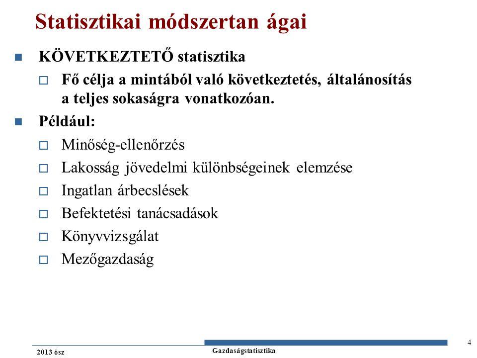 Gazdaságstatisztika 2013 ősz Leíró statisztika Területei: 1.