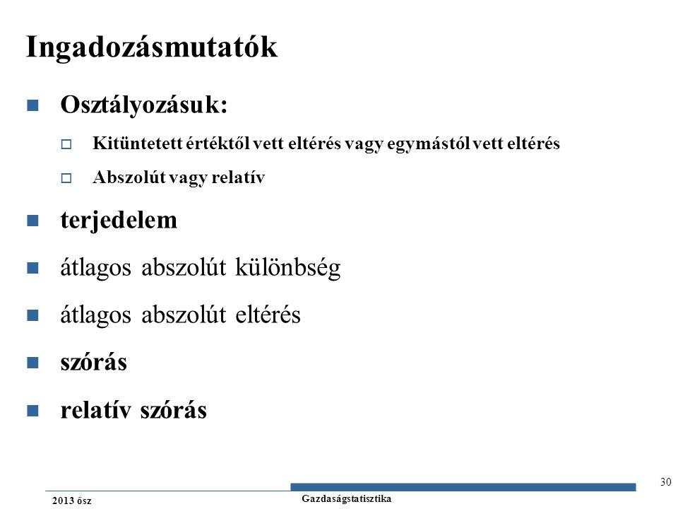Gazdaságstatisztika 2013 ősz Ingadozásmutatók Osztályozásuk:  Kitüntetett értéktől vett eltérés vagy egymástól vett eltérés  Abszolút vagy relatív t