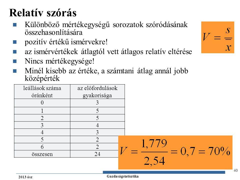 Gazdaságstatisztika 2013 ősz Relatív szórás Különböző mértékegységű sorozatok szóródásának összehasonlítására pozitív értékű ismérvekre! az ismérvérté