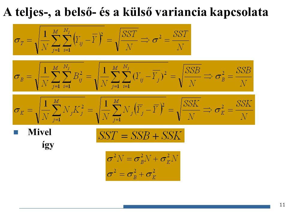 Gazdaságstatisztika, 2012 A j-edik részsokaság varianciája Ebből A belső variancia 12 A részvarianciák és a belső variancia kapcsolata Egyes részvarianciák részsokasági elemszámmal súlyozott számtani átlaga