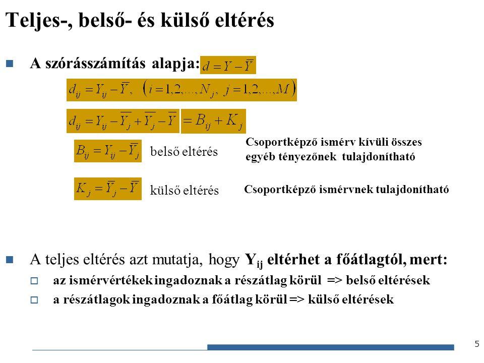 Gazdaságstatisztika, 2012 SST=SSB+SSK Teljes eltérés-négyzetösszeg: Belső eltérés-négyzetösszeg: Külső eltérés-négyzetösszeg: A három eltérés-négyzetösszeg között bizonyítható az alábbi összefüggés (a statisztika elméletében kitüntetett szerepet játszó azonosság): 6 SST=SSB+SSK