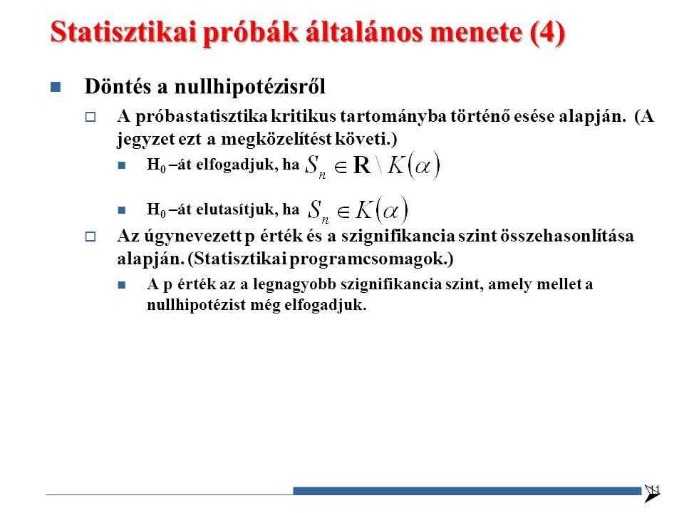 Statisztikai próbák általános menete (4) Döntés a nullhipotézisről  A próbastatisztika kritikus tartományba történő esése alapján. (A jegyzet ezt a m