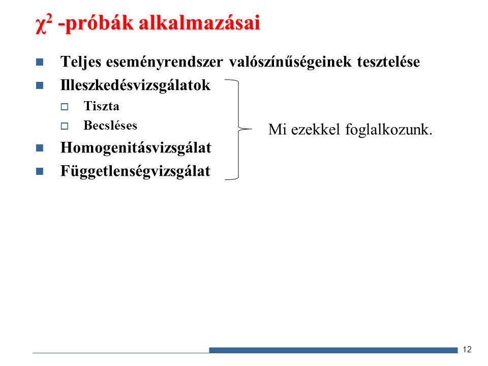 Teljes eseményrendszer valószínűségeinek tesztelése Illeszkedésvizsgálatok  Tiszta  Becsléses Homogenitásvizsgálat Függetlenségvizsgálat χ 2 -próbák