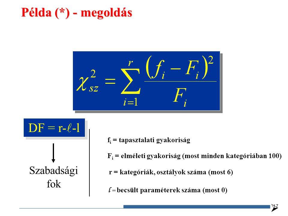 DF = r- -l f i = tapasztalati gyakoriság F i = elméleti gyakoriság (most minden kategóriában 100) r = kategóriák, osztályok száma (most 6) Szabadsági