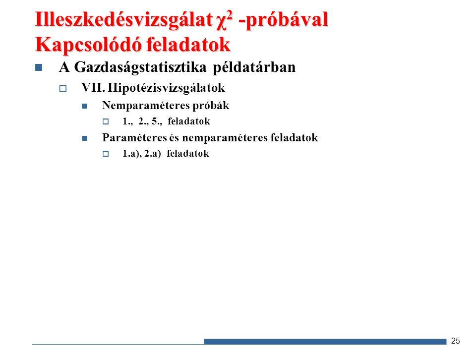 A Gazdaságstatisztika példatárban  VII. Hipotézisvizsgálatok Nemparaméteres próbák  1., 2., 5., feladatok Paraméteres és nemparaméteres feladatok 