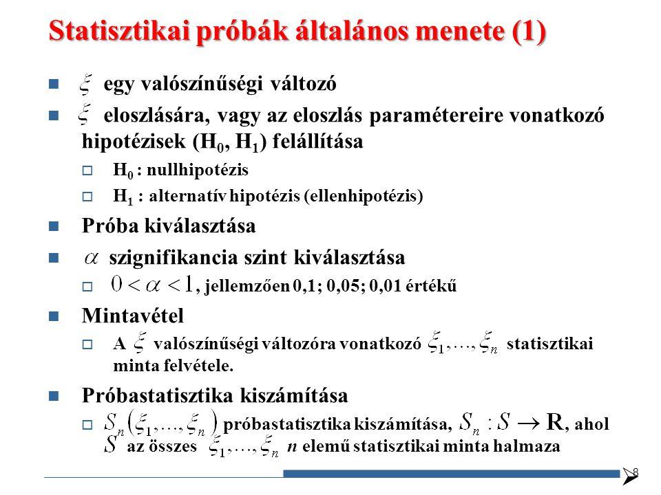 Statisztikai próbák általános menete (1) egy valószínűségi változó eloszlására, vagy az eloszlás paramétereire vonatkozó hipotézisek (H 0, H 1 ) felál