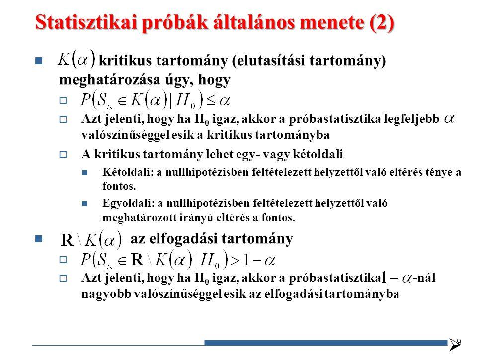 Statisztikai próbák általános menete (2) kritikus tartomány (elutasítási tartomány) meghatározása úgy, hogy   Azt jelenti, hogy ha H 0 igaz, akkor a