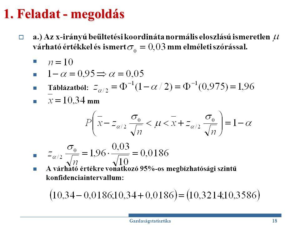 1. Feladat - megoldás  a.) Az x-irányú beültetési koordináta normális eloszlású ismeretlen várható értékkel és ismert mm elméleti szórással. Táblázat