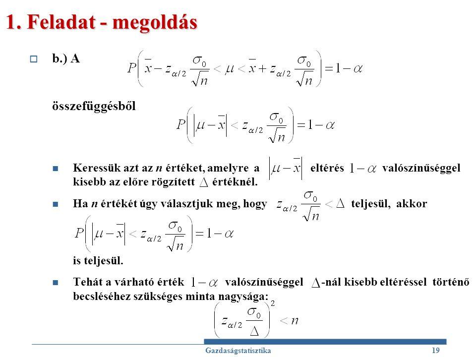 1. Feladat - megoldás  b.) A összefüggésből Keressük azt az n értéket, amelyre a eltérés valószínűséggel kisebb az előre rögzített értéknél. Ha n ért