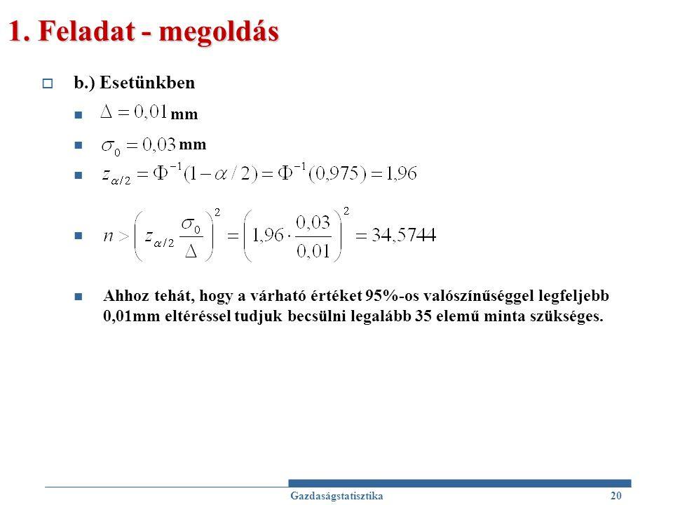 1. Feladat - megoldás  b.) Esetünkben mm Ahhoz tehát, hogy a várható értéket 95%-os valószínűséggel legfeljebb 0,01mm eltéréssel tudjuk becsülni lega
