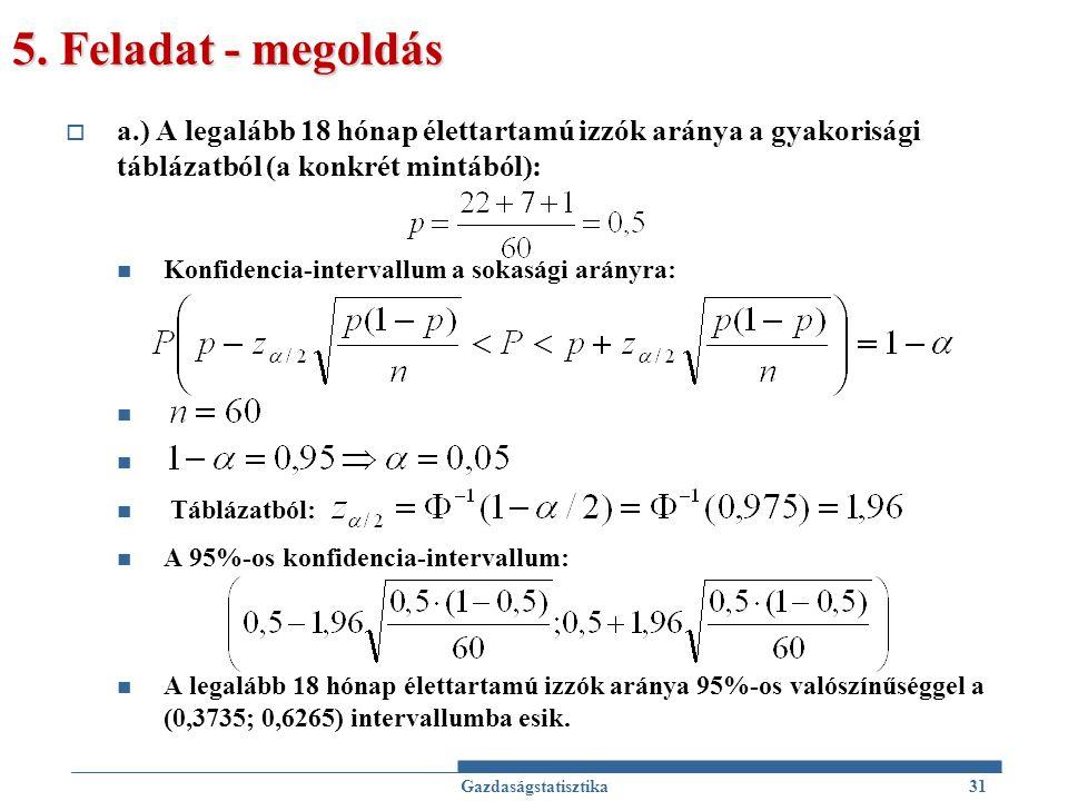 5. Feladat - megoldás  a.) A legalább 18 hónap élettartamú izzók aránya a gyakorisági táblázatból (a konkrét mintából): Konfidencia-intervallum a sok