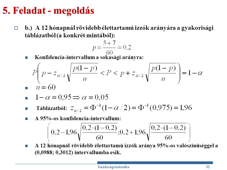 5. Feladat - megoldás  b.) A 12 hónapnál rövidebb élettartamú izzók arányára a gyakorisági táblázatból (a konkrét mintából): Konfidencia-intervallum