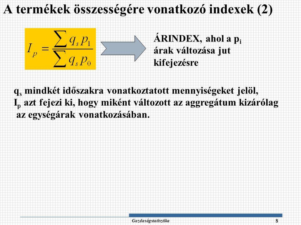 Gazdaságstatisztika 29 TermékMennyiségÁr BázisTárgyBázisTárgy Időszak A101567 B542030 C1012510 Tárgyidőszaki adatok használatával (Paasche-féle index) Példa – megoldás (4) 2.