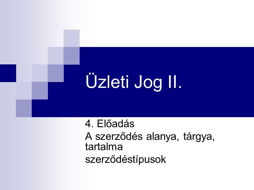Üzleti Jog II. 4. Előadás A szerződés alanya, tárgya, tartalma szerződéstípusok