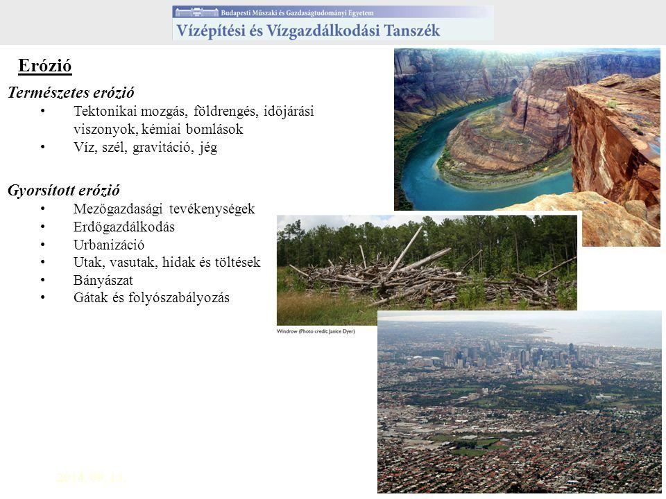 2014. 09. 13.2 Erózió Természetes erózió Tektonikai mozgás, földrengés, időjárási viszonyok, kémiai bomlások Víz, szél, gravitáció, jég Gyorsított eró