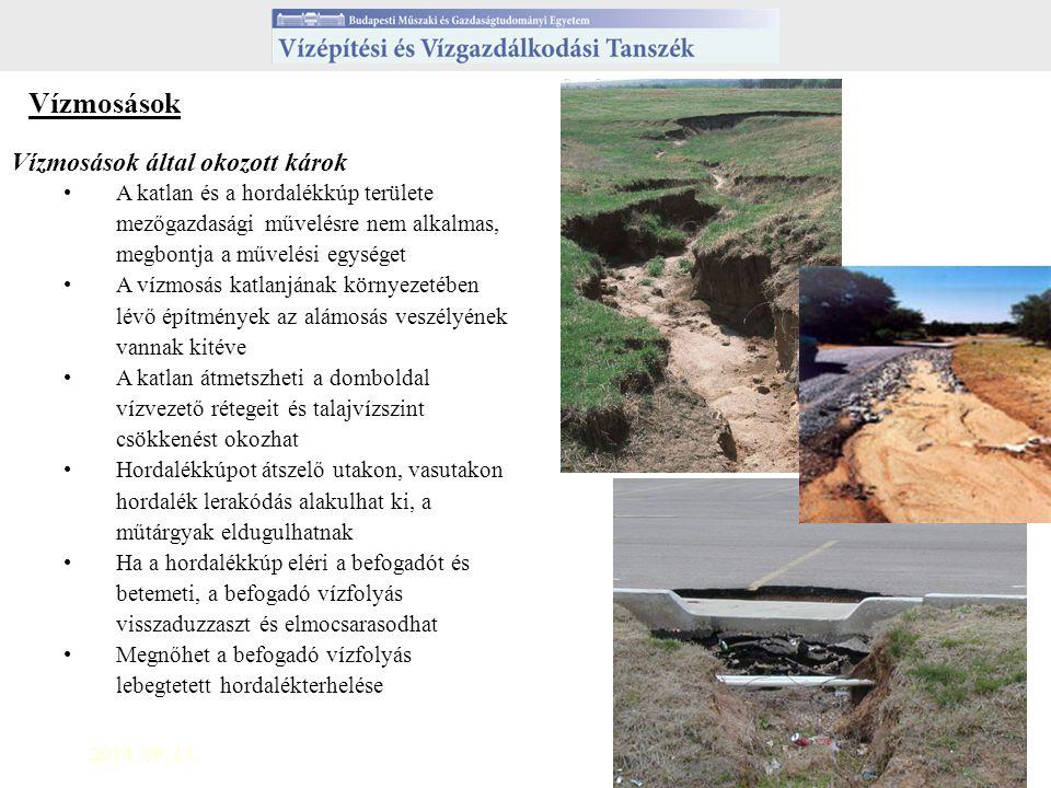 2014. 09. 13.7 Vízmosások Vízmosások által okozott károk A katlan és a hordalékkúp területe mezőgazdasági művelésre nem alkalmas, megbontja a művelési