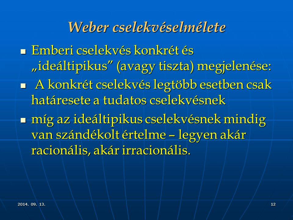 """2014. 09. 13.2014. 09. 13.2014. 09. 13.12 Weber cselekvéselmélete Emberi cselekvés konkrét és """"ideáltipikus"""" (avagy tiszta) megjelenése: Emberi cselek"""